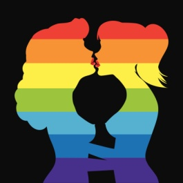 Lesbians kiss. Iridescent silhouettes of two women kissing each other.